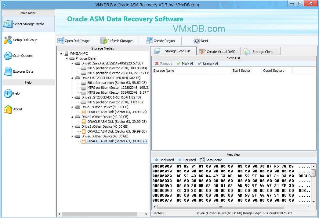 VMxDB For Oracle ASM Recovery v3.3 (Oracle ASM 数据恢复软件)